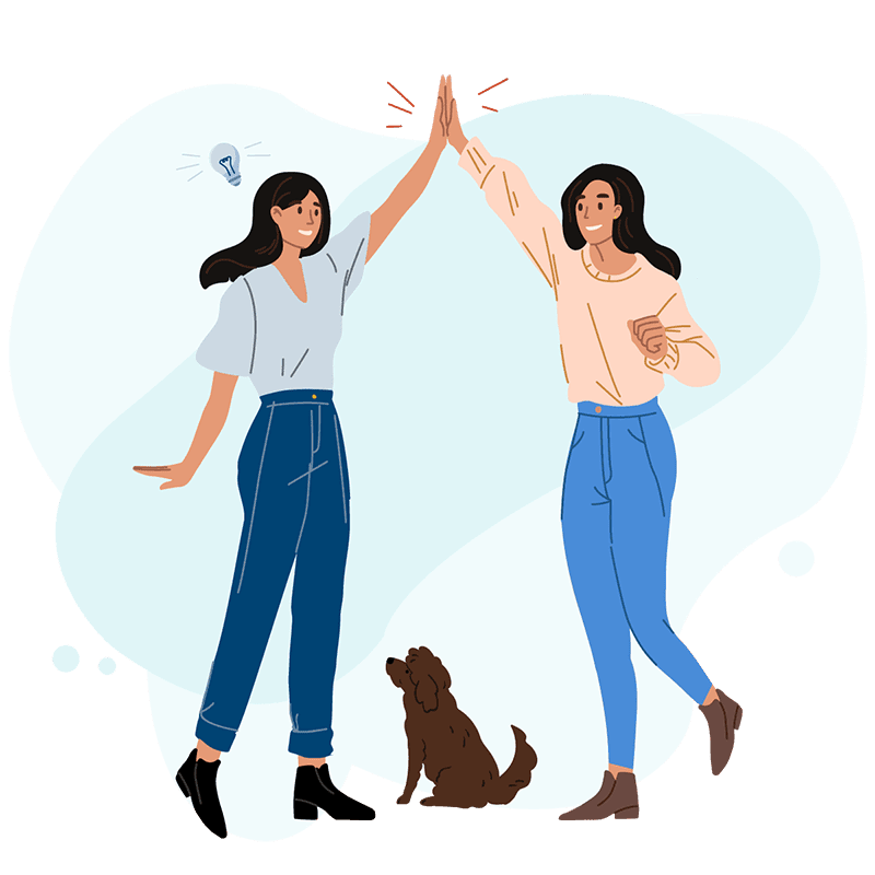 Illustration of Katie and Sara, founders of TapOnIt